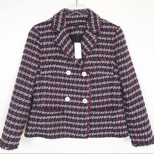 NWT Ann Taylor red, white and blue tweed blazer